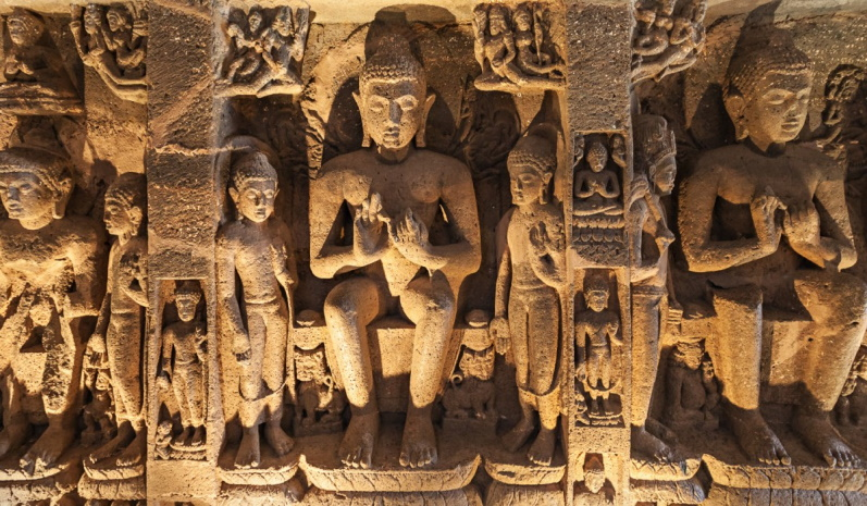 The captivating sculptures carved out of the rock at the Ajanta Caves